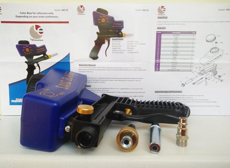 Пескоструйный пистолет с верхним бачком AS118. Малый расход воздуха, сменное сопло