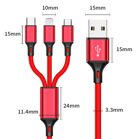 W01 USB Кабель 3in1 1200mm