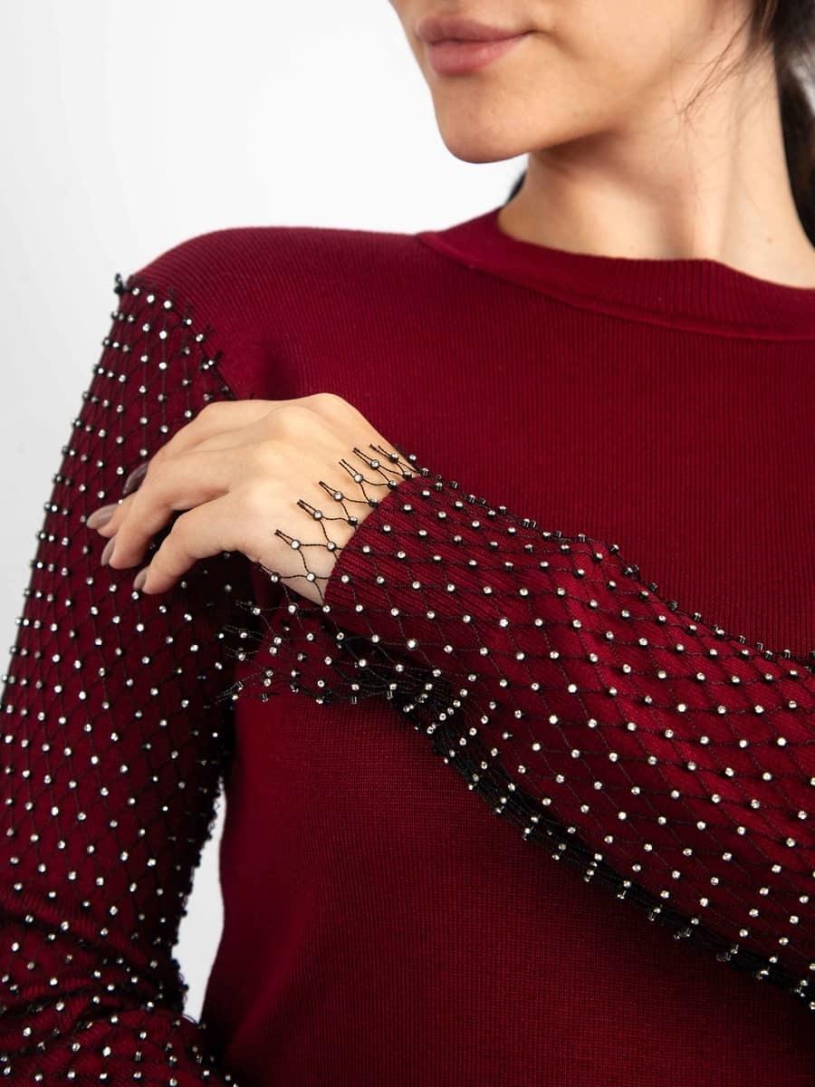 Moda Кофта со стразами на рукавах полностью