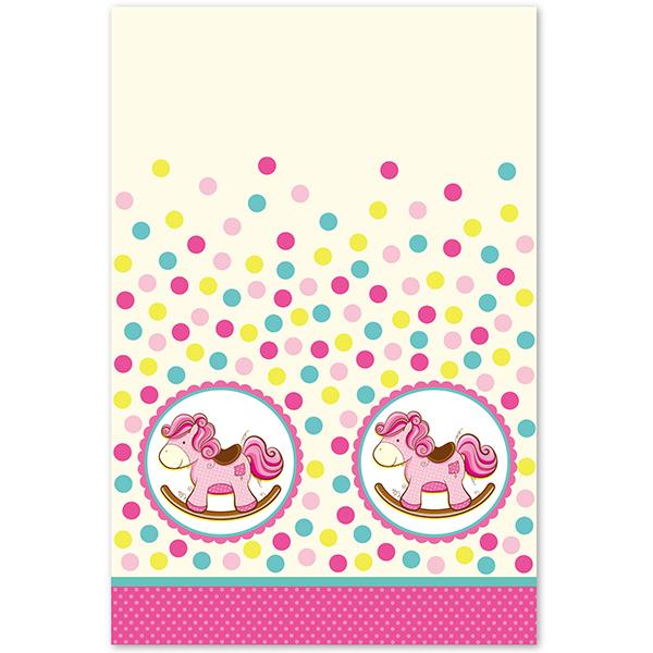 Скатерть полиэтиленовая Лошадка Малышка розовая 140см X 180см