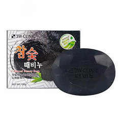 3W Clinic Soap For Face And Body With Bamboo Charcoal - Мыло для лица и тела с бамбуковым углём