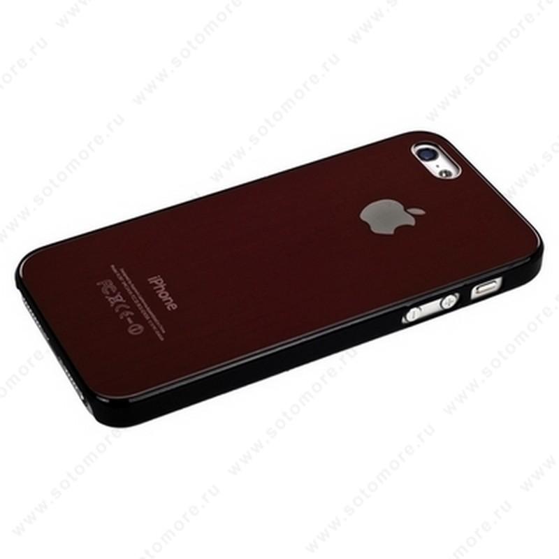 Накладка SGP металлическая для iPhone SE/ 5s/ 5C/ 5 бордовая с черной окантовкой