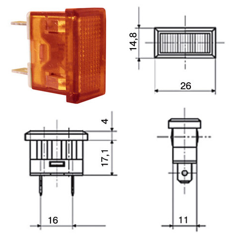 Лампа YL238-02 сигнальная красная неон 230В TDM