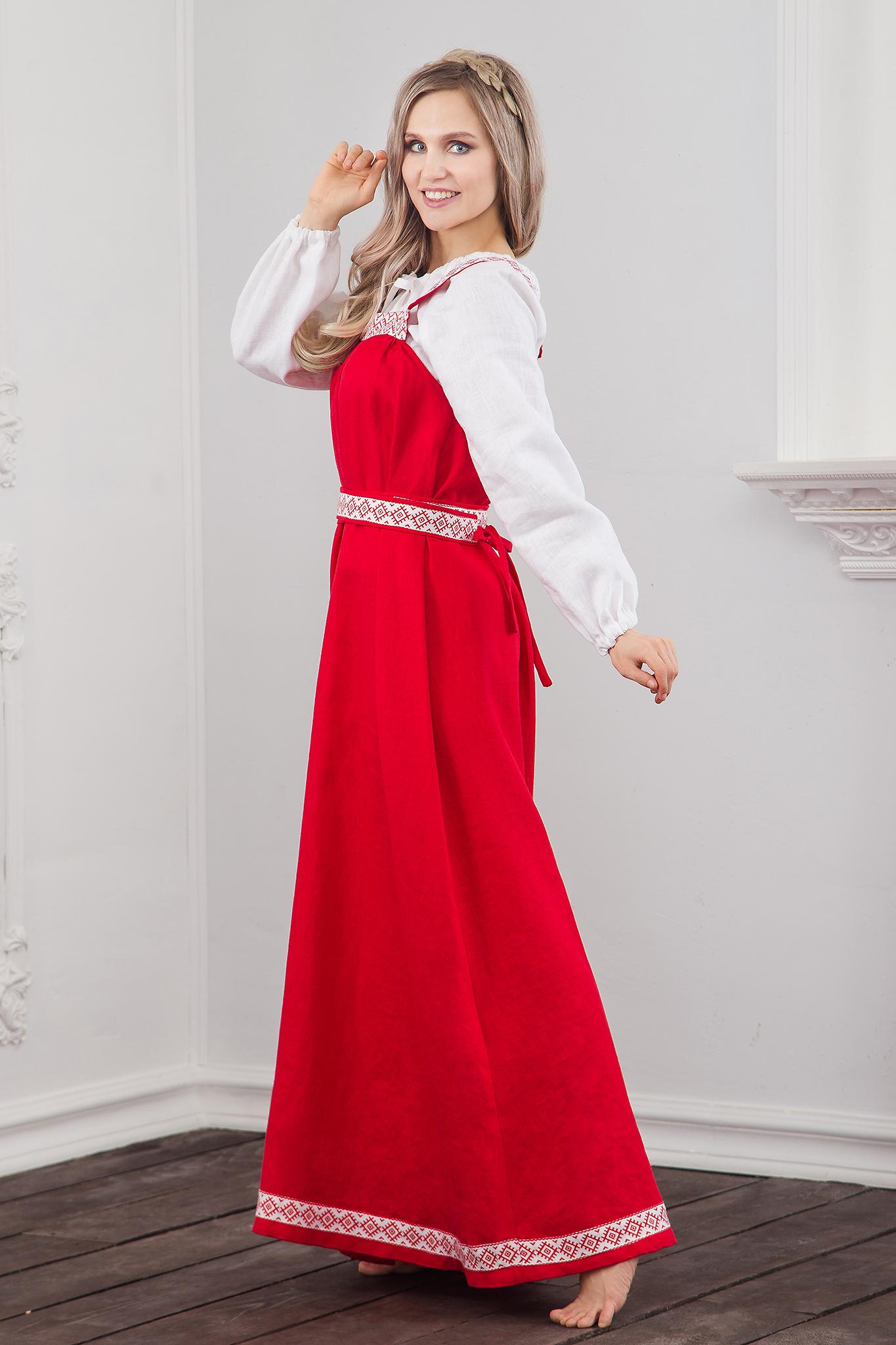 Традиционный русский-народный сарафан из льна