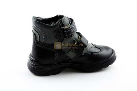 Ботинки Тотто из натуральной кожи демисезонные на байке для мальчиков, цвет черный. Изображение 4 из 11.