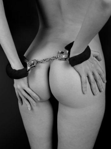 Чёрные наручники с кристаллами BONDAGE