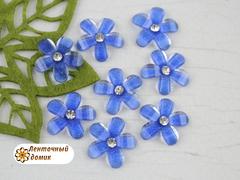 Декор синий цветочек со стразиной