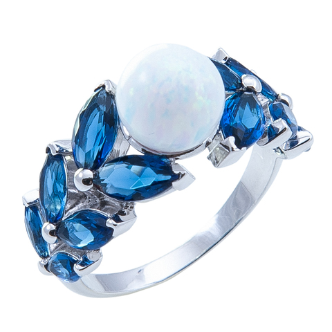 Кольцо из серебра с опалом и сапфирами Арт.1071ок сапф