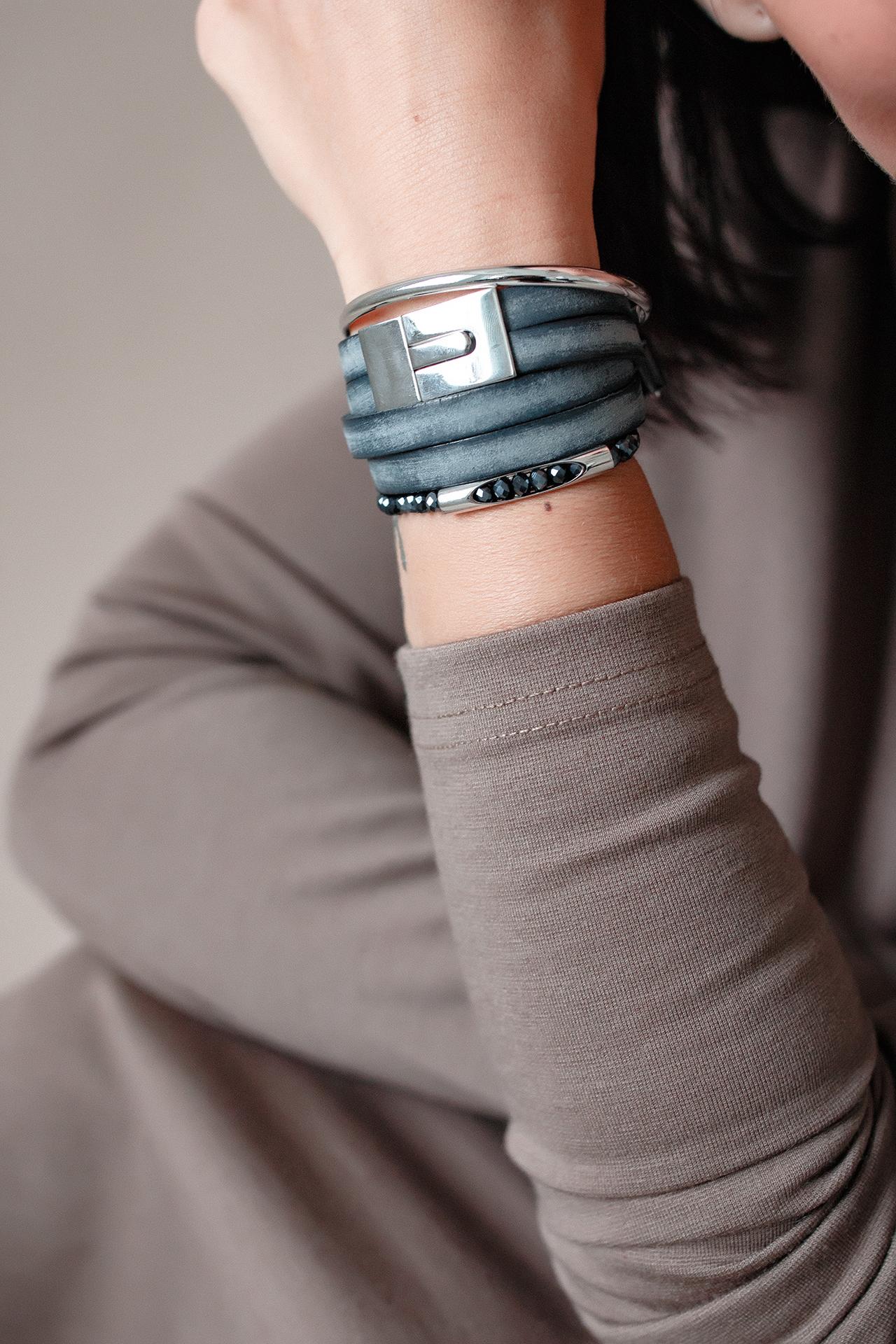 Женский браслет из натуральной кожи под джинс на 14 размер  оптом и в розницу