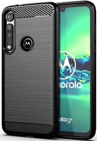 Чехол Motorola Moto G8 plus цвет Black (черный), серия Carbon, Caseport