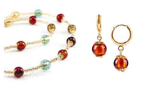 Комплект Carnavale Oro Piccolo (янтарные серьги Piccolo, ожерелье)