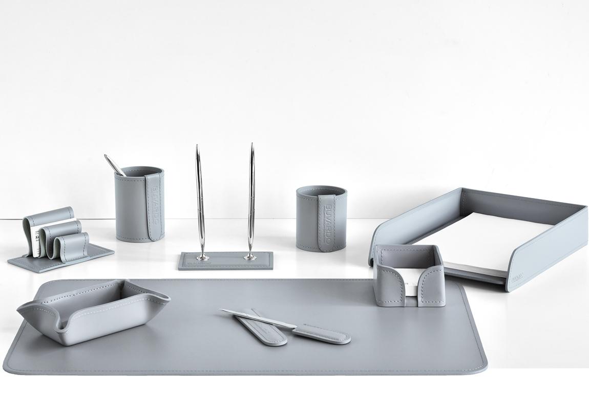 набор на стол серый из кожи 9 предметов