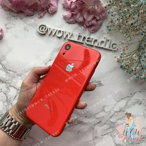 Чехол iPhone XR Glass Full color Case Logo /red/