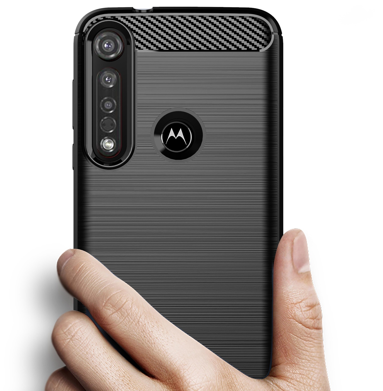 Чехол Motorola Moto G8 plus цвет Black (черный), серия Carbon, Caseport