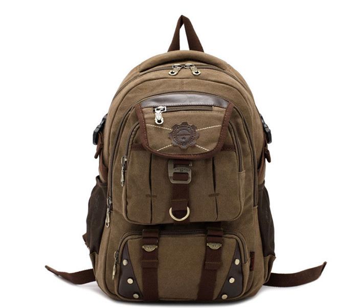 BAG388-2 Мужской повседневный рюкзак цвета хаки из прочной ткани фото 05