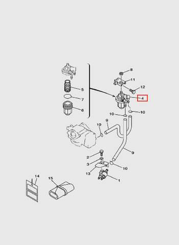 Фильтр топливный в сборе  для лодочного мотора T15, OTH 9,9 SEA-PRO (6-4)