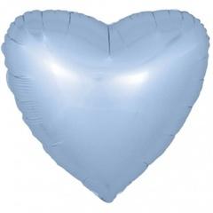 F 18''/46 см Сердце, Голубой, Сатин, 1 шт.