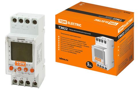 Таймер электронный ТЭ822-2кан-1мин/7дн-44on/off-16А-DIN TDM