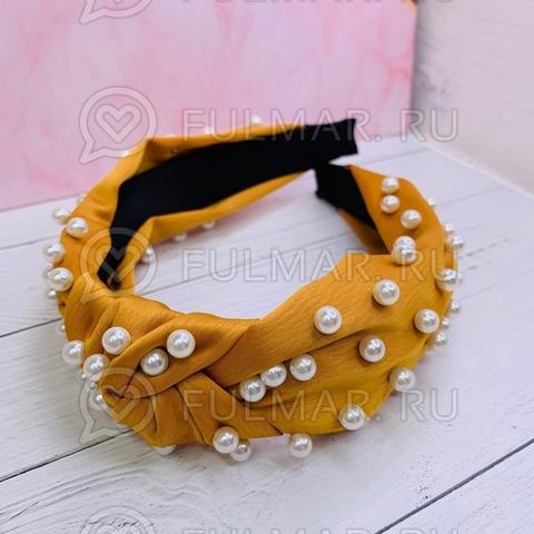 Жёлтый ободок чалма для волос с искусственным жемчугом Mia