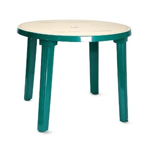Пластиковый стол круглый с рисунком зеленый