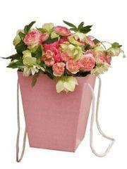 Коробка для цветов Розовая 12,5*18*22,5 см.