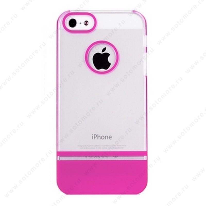 Накладка MOBILE 7 для iPhone SE/ 5s/ 5C/ 5 белый верх розовый низ