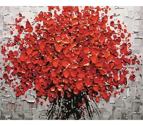 Алмазная Мозаика 20x30 Букет красных цветов большими мазками