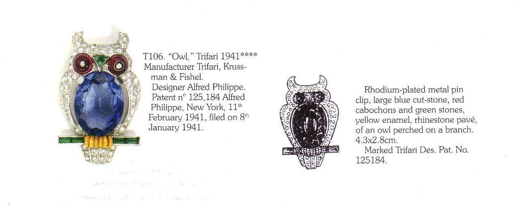 "Стильная брошь ""Сова"" от Trifari, 1941 год. book piece | Rare vintage Trifari ""owl"" fur-clip brooch  dated 1941"