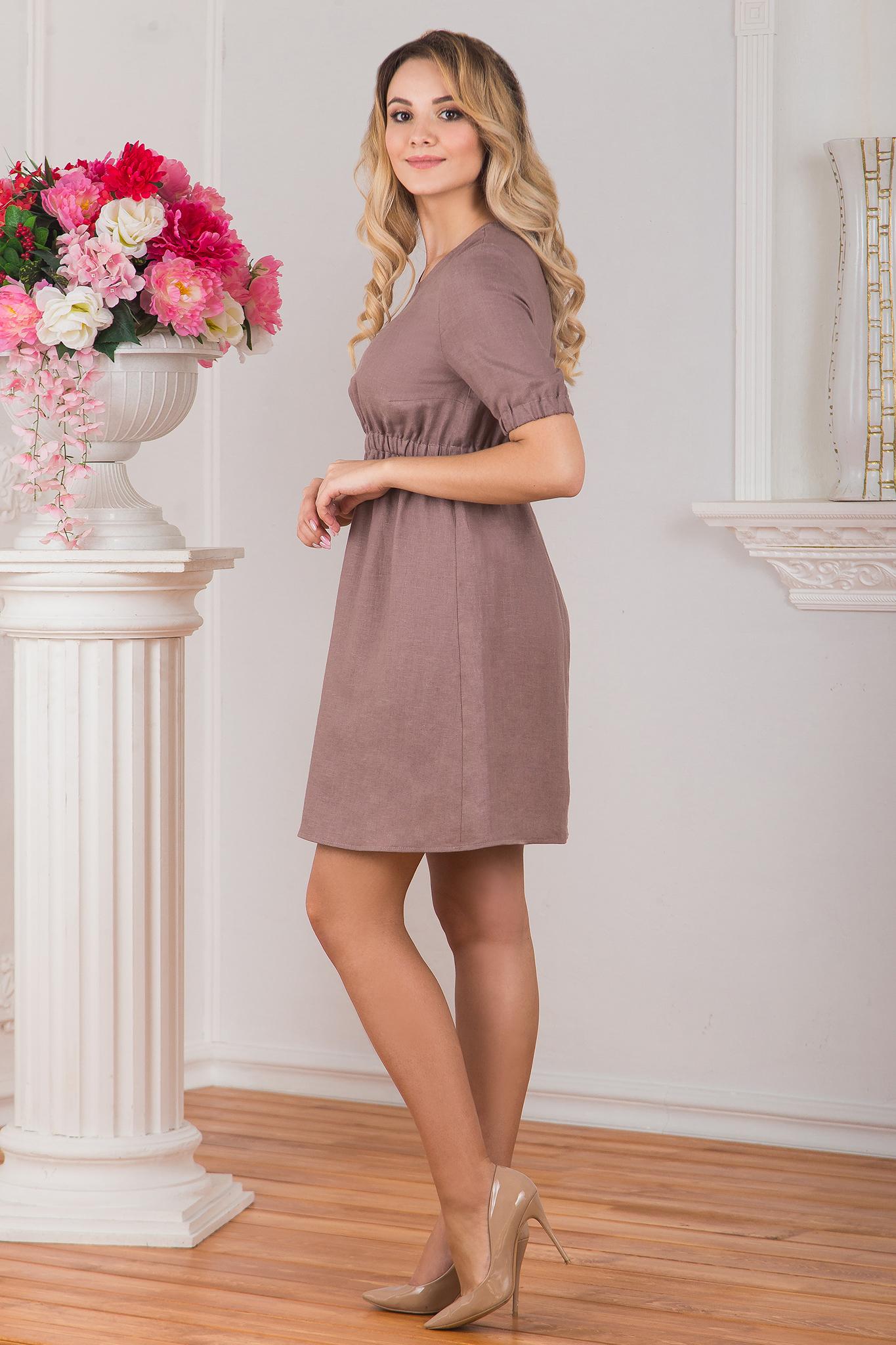 Льняное платье Какао вид сбоку