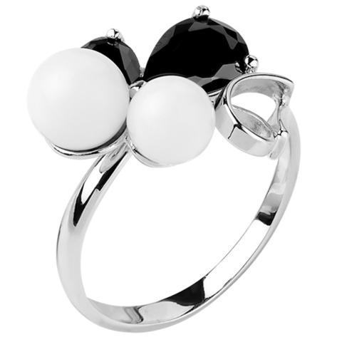 Кольцо из серебра с черной нано шпинелью и белым кварцем  Арт.1172н-шп-кв