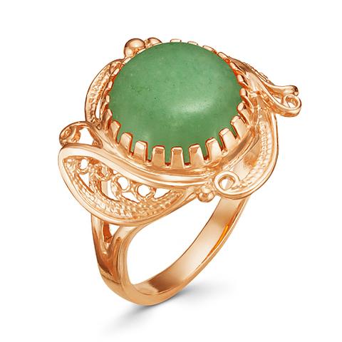 Кольцо с нефритом и позолотой