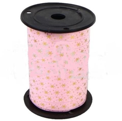 Лента НГ простая 1/100 с нан. металла, снежинки, розовая