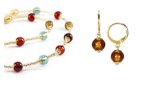 Комплект Carnavale Oro Piccolo (янтарно-бронзовые серьги Piccolo, ожерелье)