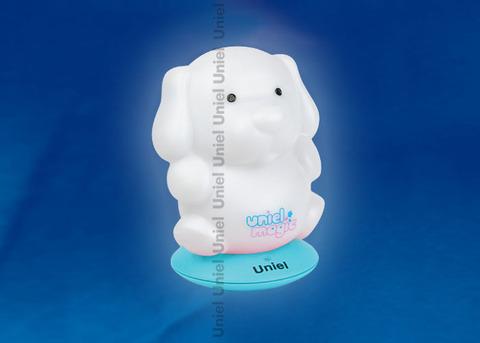 DTL-305-Собачка/3color/Base blue/Rech Светильник-ночник серия «Волшебные фонарики» аккумуляторный на голубой подставке. Пластиковая упаковка