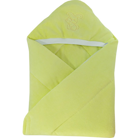 Папитто. Конверт-одеяло велюр с вышивкой, желтый