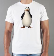 Футболка с принтом мультфильма Пингвины Мадагаскара (Penguins of Madagascar) белая 006
