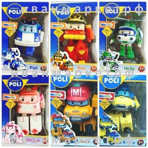 Вся команда 6 Машинки-трансформеров 11 см  Робокар Поли (Robocar Poli)