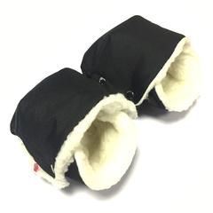 Муфта для коляски раздельная Farla Hands черная с овчиной