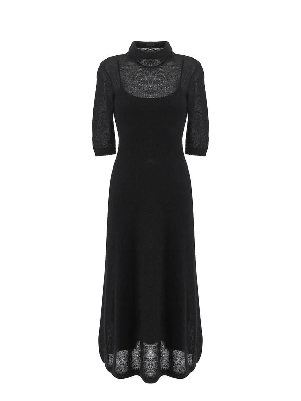 Женское черное платье миди с длинным рукавом - фото 1
