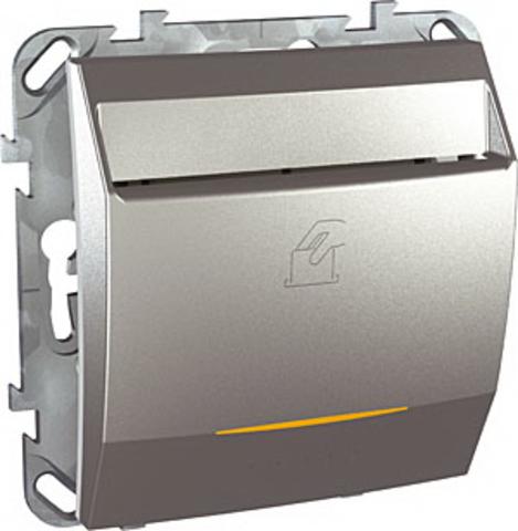 Карточный выключатель с подсветкой, 10А. Цвет Алюминий. Schneider electric Unica Top. MGU5.283.30ZD