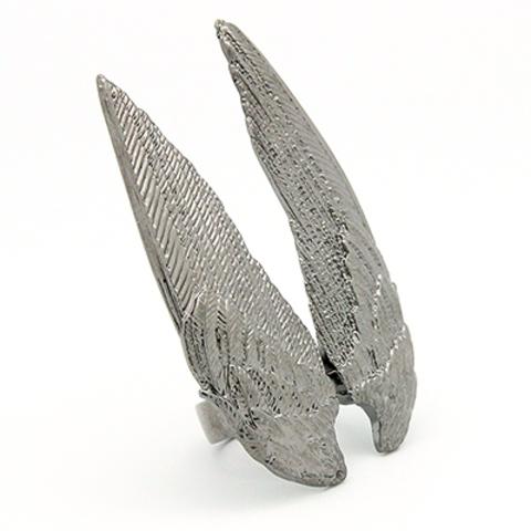Кольцо Большие крылья (черные)
