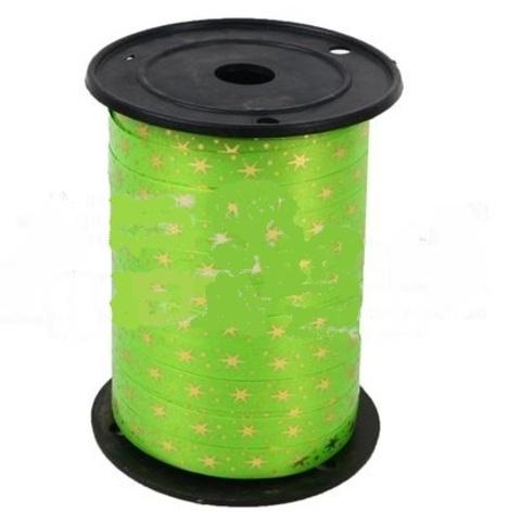 Лента НГ простая 1/100 с нан. металла, снежинки, зеленая