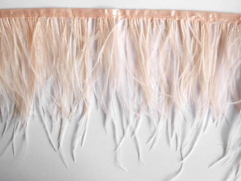 Тесьма  из перьев страуса h 10-15 см., розово-персиковый