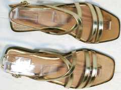 Квадратные шлепки сандали женские модные Wollen M.20237D ZS Gold.