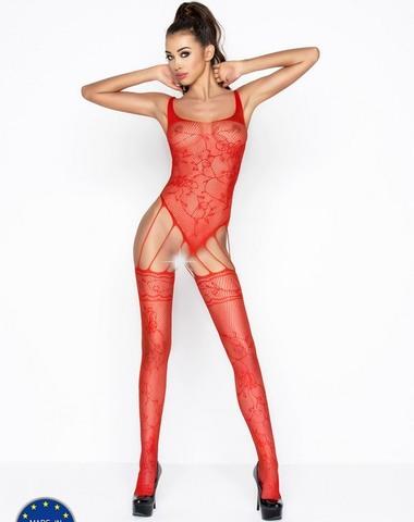 Боди из сетки с чулками - кэтсьюит эротический (034) красный