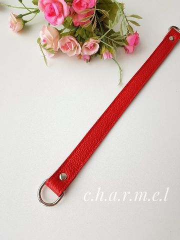 Handle 33 cm, with half-rings, color Red