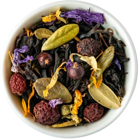 Черный чай с клюквой и брусничным листом (таежный сбор)