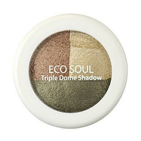 Тени для век тройные Eco Soul Triple Dome Shadow KH01 Deeply Moved Khaki 6,5 гр