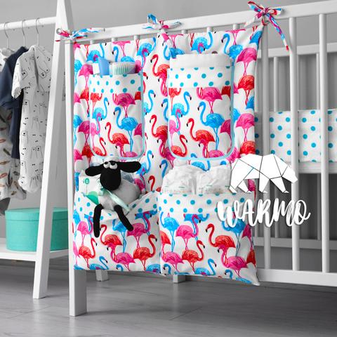 органайзер на ліжечко з різнокольоровими фламінго фото