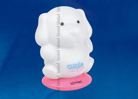 DTL-305-Собачка/3color/Base pink/Rech Светильник-ночник серия «Волшебные фонарики» аккумуляторный на розовой подставке. Пластиковая упаковка